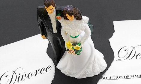 Bruidspaar met scheidingspapieren